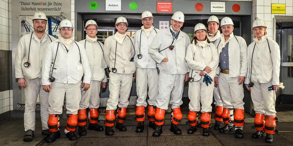 Anja Weber, Vorsitzende des DGB NRW, nimmt an Grubenfahrt auf Prosper Haniel in Bottrop teil