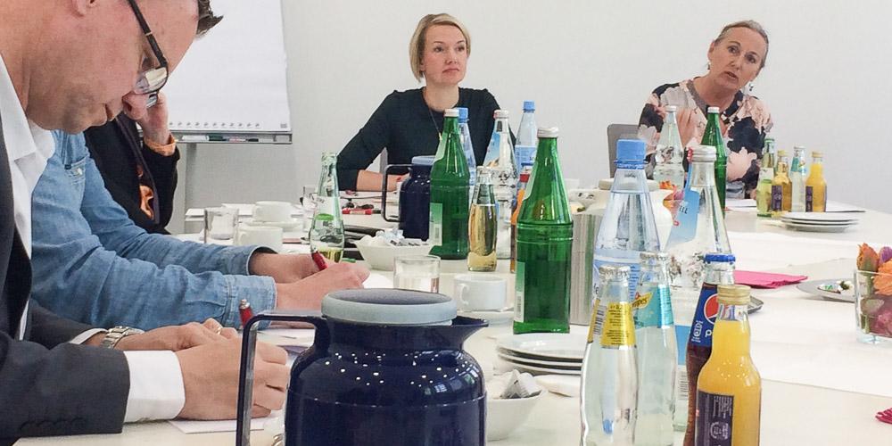Anja Weber, Vorsitzende DGB NRW, auf der Pressekonferenz zum 1. Mai 2019