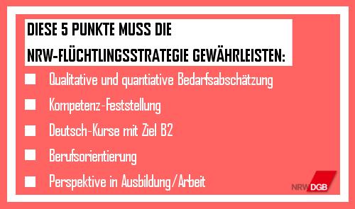 5 Gewerkschaftsforderungen an NRW-Flüchtlingsstrategie