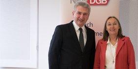 Wirtschaftsminister Andreas Pinkwart und DGB-Landeschefin Anja Weber