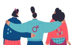 drei Frauen umarmen sich