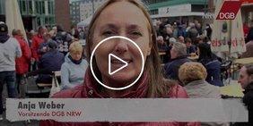 Anja Weber dankt im Video aus Bottrop den Kolleginnen und Kollegen des Steinkohlebergbaus