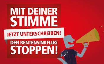 """Logo mit Slogan """"Jetzt unterschreiben! Mit deiner Stimme den Renten-Sinkflug stoppen!"""""""