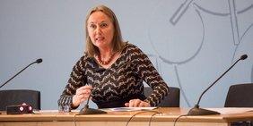 Anja Weber, Vorsitzende DGB NRW, auf einer Pressekonferenz am 30. Januar 2018 in Düsseldorf
