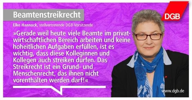 Streikrecht ist ein Grund- und Menschenrecht, sagt Elke Hannak, DGB