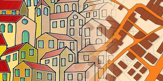 gezeichnete Häuser und Grundstücke in Luftansicht von oben