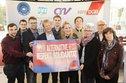 IGR-Veranstaltung, Reiner Hoffmann (DGB-Vorsitzender) mit Kollegen/innen setzen ein Zeichen für Respekt und Solidarität