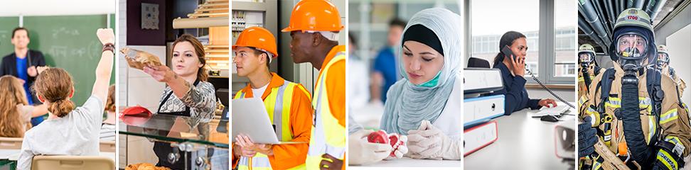 Beschäftigte unterschiedlicher Branchen