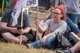 Streikende der Unikliniken demonstrieren vor NRW-Landtag in Düsseldorf