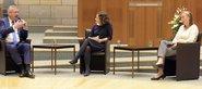 Zukunft der Tarifpartnerschaft: Diskussion mit Unternehmerpräsident Arndt G. Kirchhoff und DGB NRW-Vorsitzenden Anja Weber (r.)