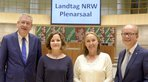 Unternehmerpräsident Arndt G. Kirchhoff, Moderatorin, DGB NRW-Vorsitzende Anja Weber, Landtagspräsident André Kuper