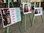 Stand zu 100 Jahre Frauenwahlrecht in Bonner Fußgängerzone anlässlich des Frauentags 2018